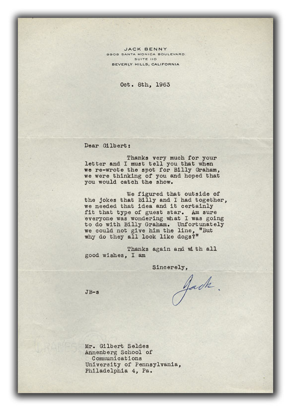 Typed Letter Signed To Gilbert Seldes Benny Jack