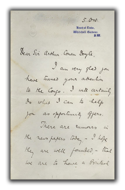 Signed Letter to Arthur Conan Doyle