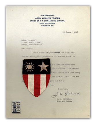 Typed Letter, Signed, With A Unit Shoulder Patch. MILITARIA, J. W. STILWELL.