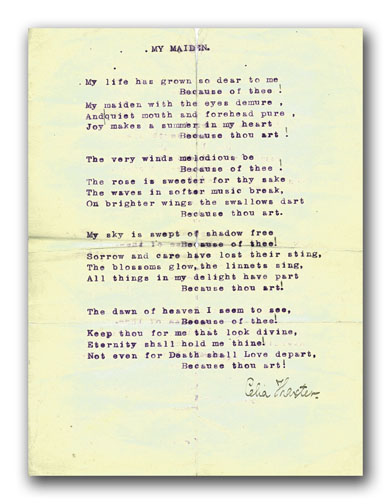 Original Typescript Poem, Signed. CELIA THAXTER.