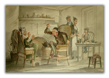 Two Original Watercolors Illustrating Scenes From Bleak House. DICKENS, ROBERT D. WILKIE.