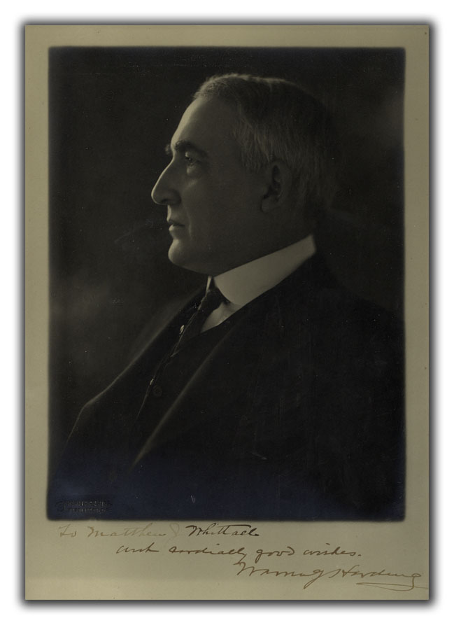 Original Portrait Photograph. PRESIDENTIAL, WARREN G. HARDING.