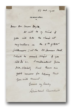 Signed Holograph Letter to Arthur Conan Doyle. WINSTON S. CHURCHILL.