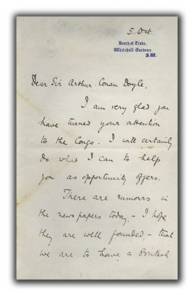 Signed Letter to Arthur Conan Doyle. WINSTON S. CHURCHILL