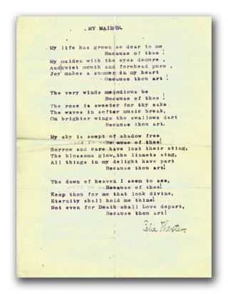 Original Typescript Poem, Signed. CELIA THAXTER