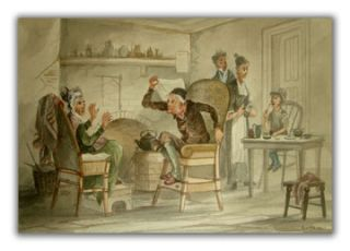 Two Original Watercolors Illustrating Scenes From Bleak House. DICKENS, ROBERT D. WILKIE