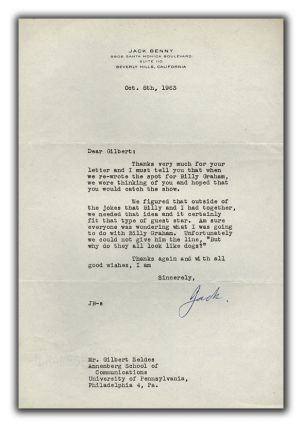 Typed Letter Signed to Gilbert Seldes. BENNY JACK.