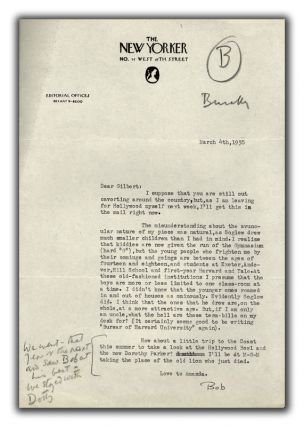 Two Typed Letters Signed to Gilbert Seldes. ROBERT BENCHLEY.